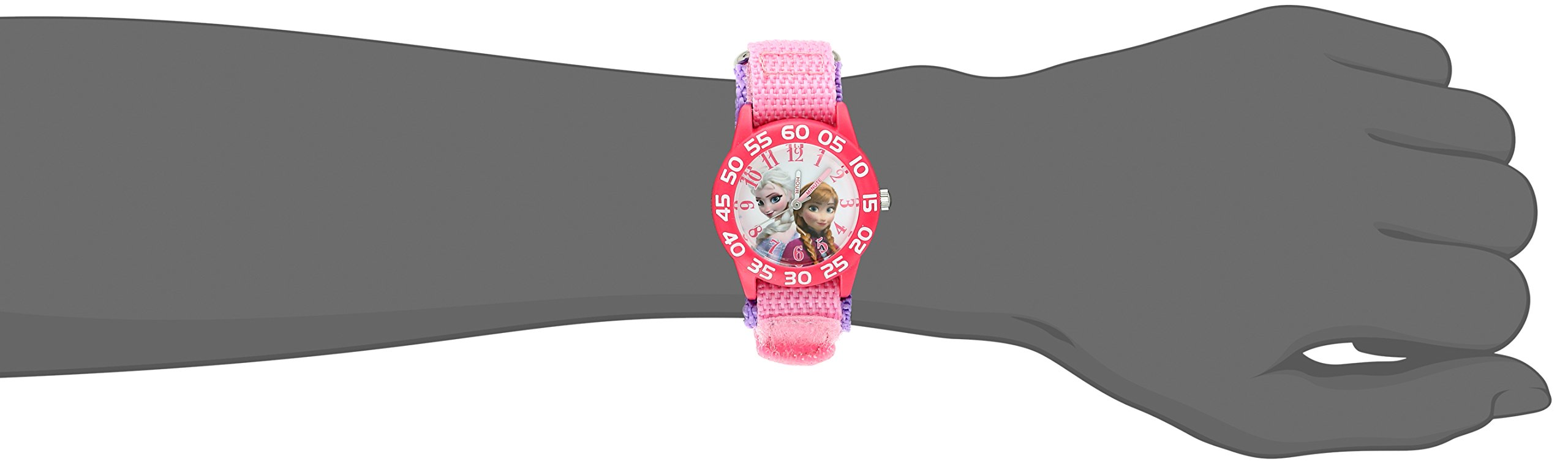 Disney Kids' W001790 Frozen Elsa and Anna Watch, Pink Nylon Band