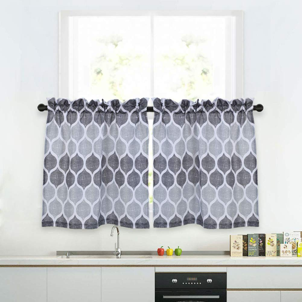 "Haperlare Grey Moroccan Tier Curtains for Kitchen, Lattice Pattern Short Bathroom Window Curtain, Trellis Design Half Window Kitchen Cafe Curtains, 28"" x 24"", Gray/Silver, Set of 2"