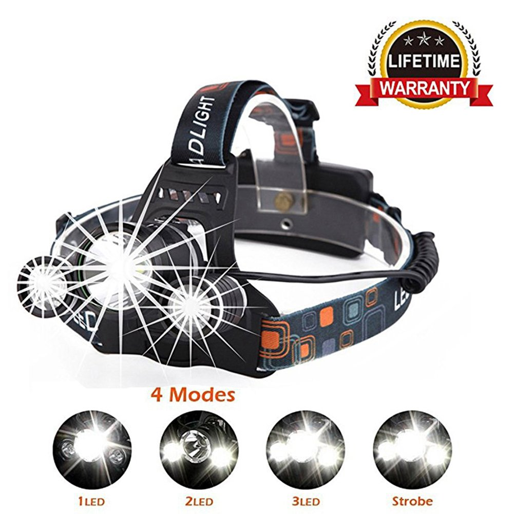 LED Headlamp Flashlight - Waterproof Headlight 4 Modes 5000 Lumens 3 LED Lamp With Adjustable Headband and 90 Degree Moving T6 Light for Outdoor Reading,Hiking,Camping (includes battery))