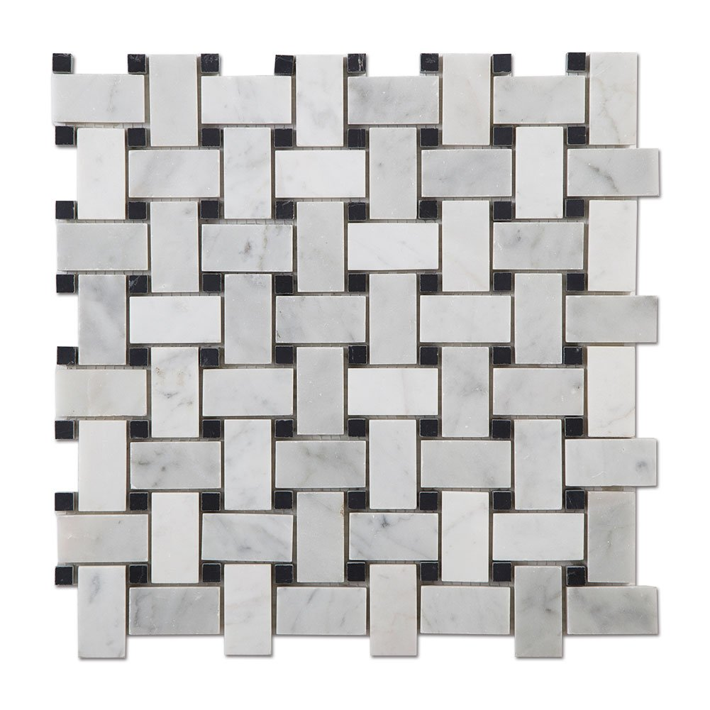 Diflart Italian White Carrara Marble Mosaic Tile with Black Dots Polished, 5 Sheets/Box (Basketweave)