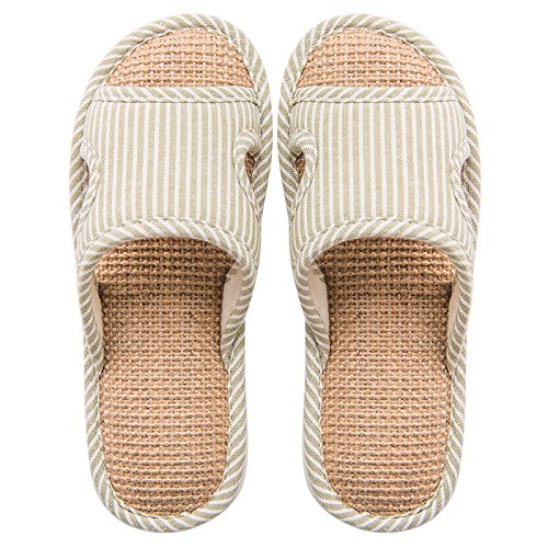 floor 37 soft slippers linen Stay non indoor 36 male breathable summer with fankou couples green cool girls slip slippers a w7fwCU