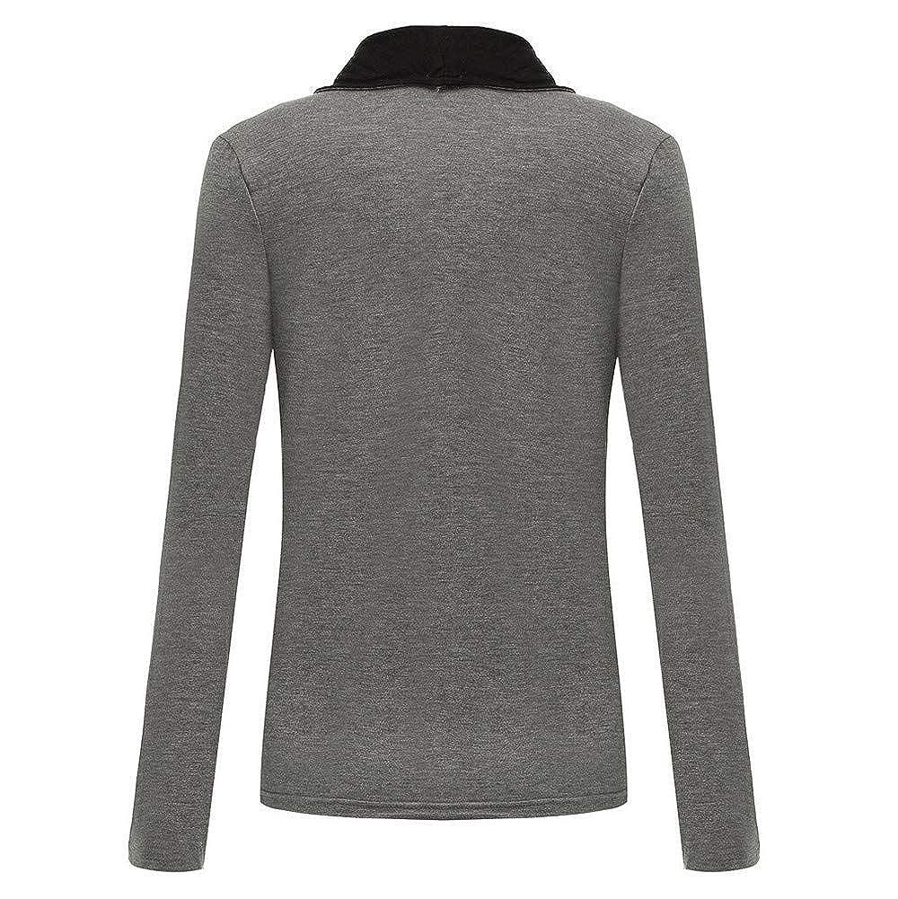 4Clovers Womens Casual Lapel Open Front Zipper Side Slim Cardigan Coat
