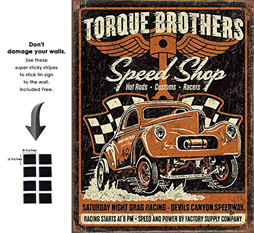 - Shop72 - Torque Brothers - Gasser Tin Sign Retro Vintage Distrssed - with Sticky Stripes No Damage to Walls