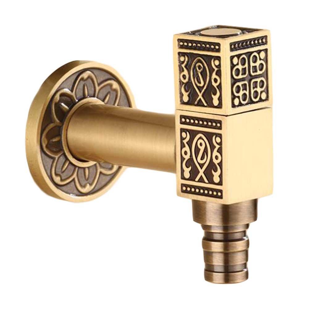 Panda Superstore [Square] Brass Antique Faucet Washing Machine Faucet Wall Faucet Kitchen/Garden