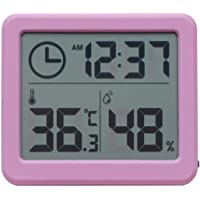 Thermometer Digital Indoor Hygrometer with Time Display, Accurate Temperature Humidity Monitor Meter for Home, Office, Nursing Room, Greenhouse, Warehouse and More (Pink)