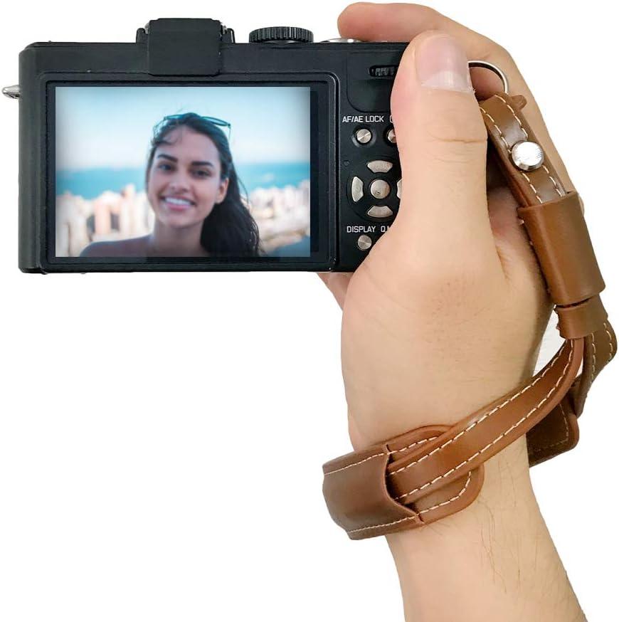 Camera Wrist Strap Vintage Leather Hand Wriststrap for Mirrorless Camera Black