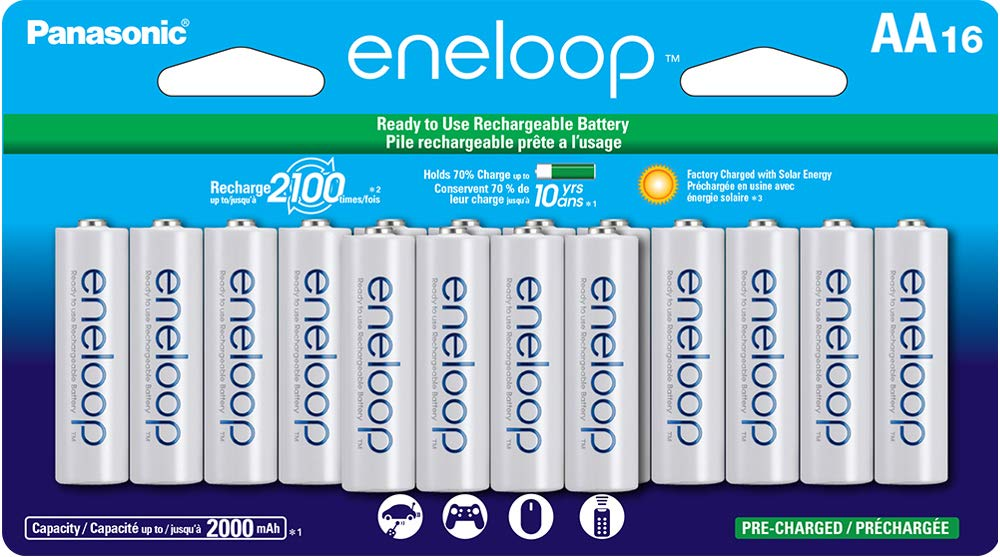 White /& BK-3MCCA4BA eneloop AA 2100 Cycle Ni-MH Pre-Charged Rechargeable Batteries 4 Pack Panasonic Advanced eneloop Individual Battery 3 Hour Quick Charger with 4 AA eneloop Rechargeable Batteries
