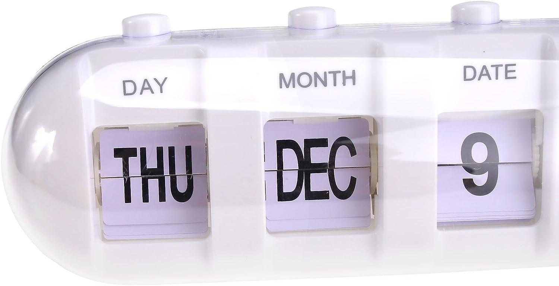 SFIC LTD Wecker Manuelle Digital Tag Datum Woche Kalender Schreibtisch Wecker Quartz Wecker Uhr Wei/ß//Schwarz//Pink wei/ß
