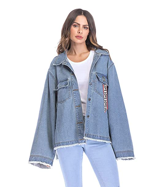 Xsayjia Mujer Chaqueta Vaquera Manga Larga Suelta Abrigo Denim Jacket Oversize: Amazon.es: Ropa y accesorios