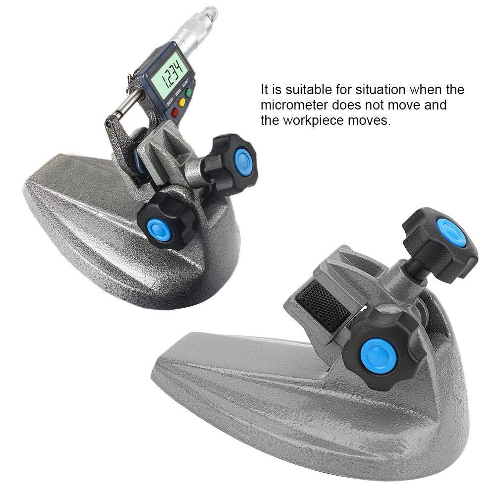 soporte de soporte de micr/ómetro de 0-100 mm Soporte de micr/ómetro exterior Herramienta de fijaci/ón de la base Base de hierro fundido Soporte de soporte de micr/ómetro de precisi/ón 0-100mm