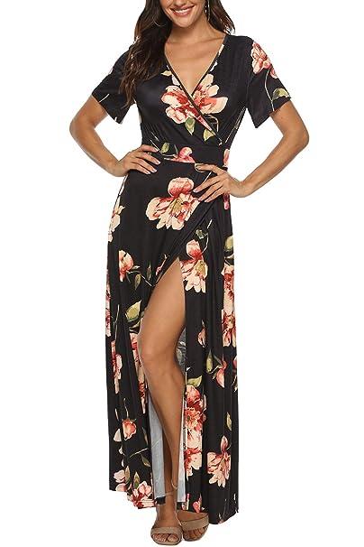 ba54ac8f58 Zattcas Women Wrap Maxi Dress Short Sleeve V Neck Slit Summer Floral Maxi  Dress,Floral