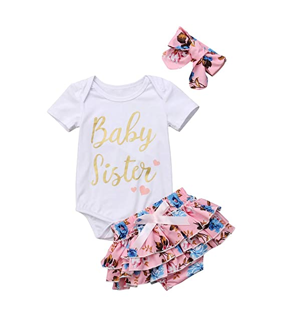 1e57b6f6030 Baby Girls Jumpsuit Newborn Infant Kids Floral Clothes Shorts Summer Romper  Bodysuit Sundress Outfits (0