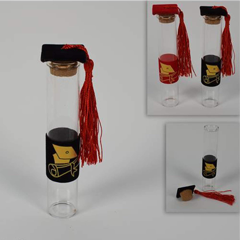 Aurora Store  48 Provetta bomboniera bottigliette in Vetro con Tappo in Sughero per Confetti H.12 X 2.5 cm Rosso Laurea