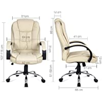Generic Be Beige Chair Office Desk Desk Comput Executive PU Leather PU Le Computer Chair utive PU Lea
