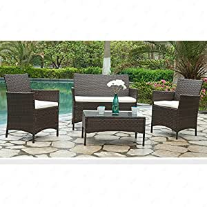 Mecor Outdoor Rattan Wicker Patio Furniture Set Sectional Cushioned Sofa & Table Garden/Backyard/Lawn,Black (Brown-4 PC)
