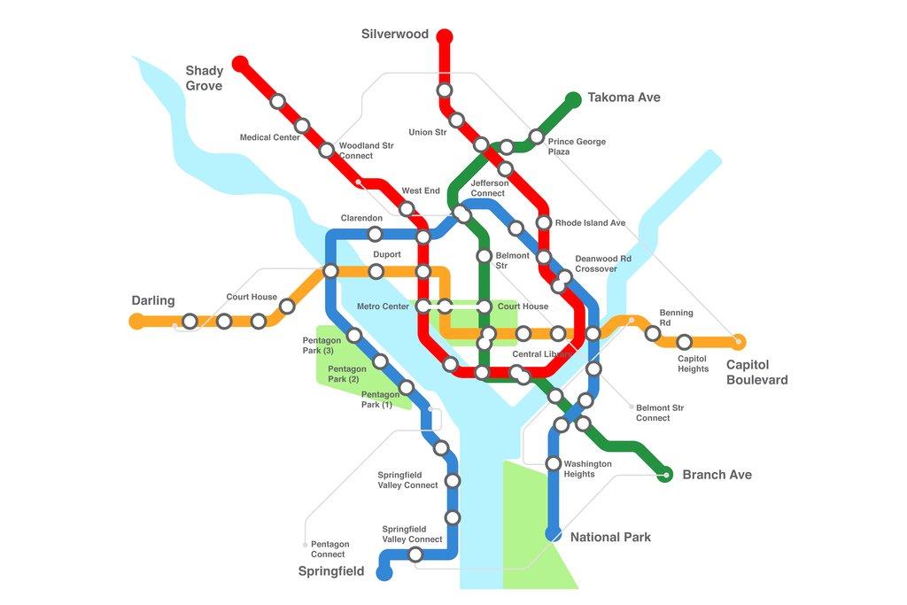 Dc Subway Map Pillow.Washington Dc Urban Transport Rail Transit Map Cool Wall Decor Art Print Poster 18x12