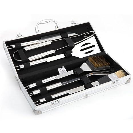 Holzsammlung® Cubertería de 6 piezas para barbacoa de acero inoxidable para barbacoa Cubiertos en maletín