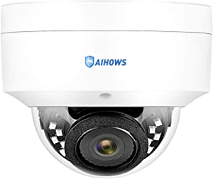 AIHOWS 5Mp PoE Dome Security Camera System with 4Pcs IP Surveillance Camera, 8CH H.265+ NVR Home Surveillance Video System Cover 2TB HDD for 24/7 Sound & Video Recording (1 pcs Camera)