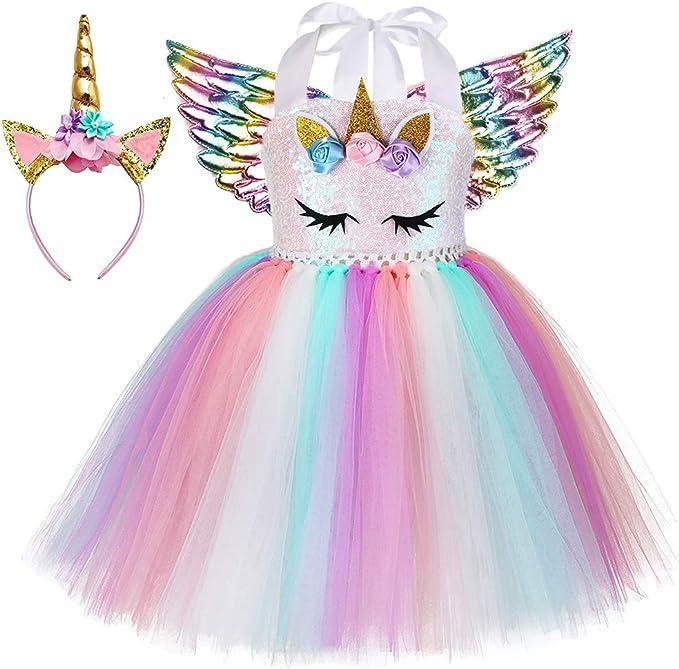 Amazon.com: Disfraz de unicornio tutú para niñas, disfraz de ...