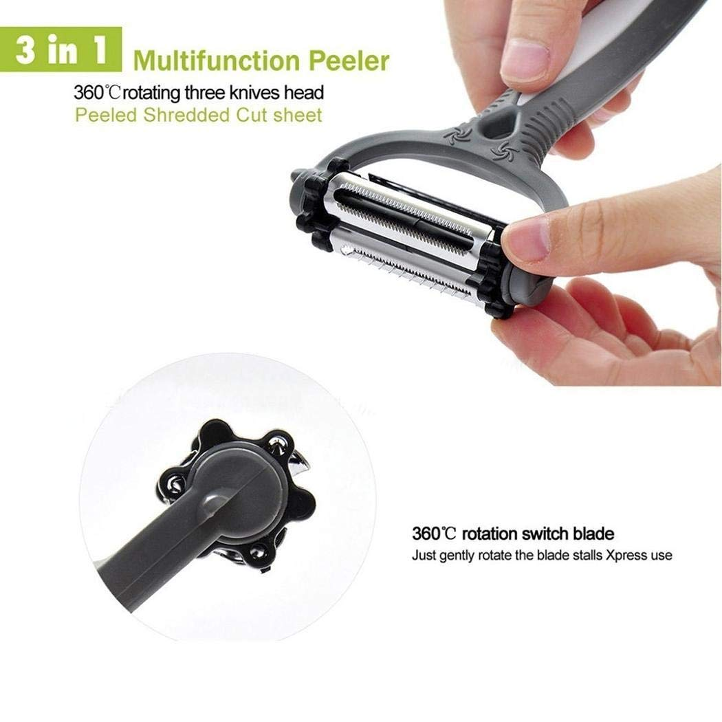 Kikole 3 in 1 Rotating Sharp Fruit Vegetable Peeler Cutter Stainless Steel Slicer Blades Kitchenware