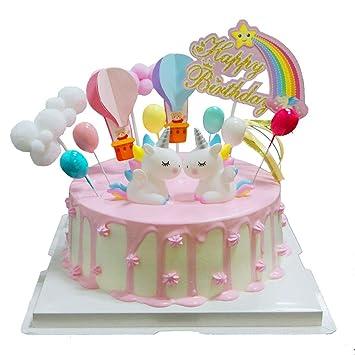 BluVast Cake Topper Unicornio, Decoraciones de Pasteles cumpleaños 13 Piezas para la Fiesta de la Fiesta de Bienvenida al bebé cumpleaños niñas Niños