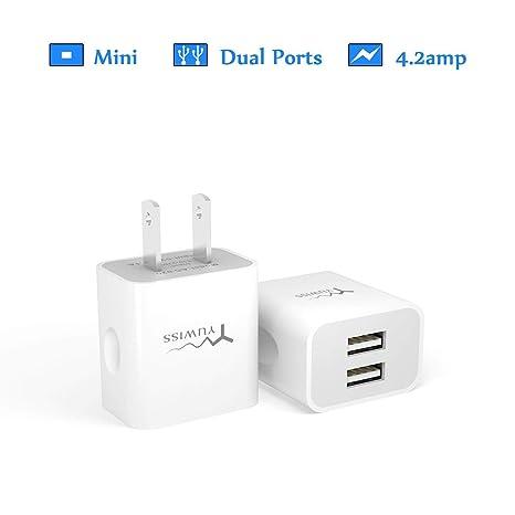 Yuwiss - Cargador de Pared con 2 Puertos USB y 25 W/3,1 A ...