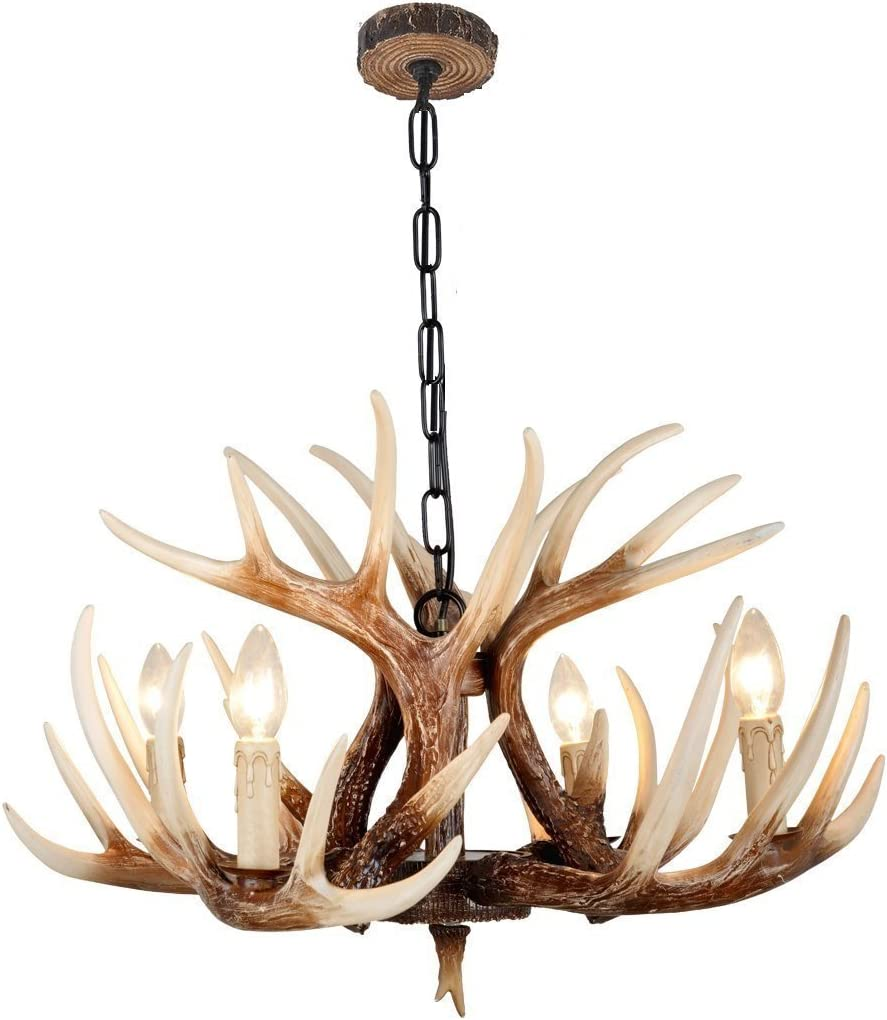 EFFORTINC Vintage Style Resin Deer Horn Antler Chandeliers,4 Lights Bulbs Not Included