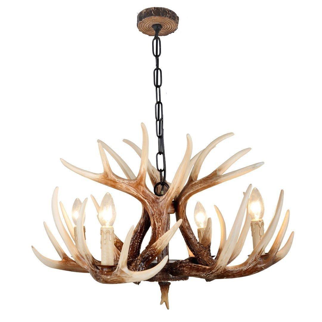 Effortinc vintage style resin deer horn antler chandeliers 4 lights effortinc vintage style resin deer horn antler chandeliers 4 lightsbulbs not included amazon arubaitofo Images
