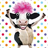 Laughing Cow Afro Hair Birthday Card Cowabunga - 3D Goggly Moving Eyes