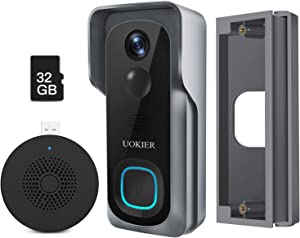 Wireless Video Doorbell Camera with Angel Mount, WiFi Video Doorbell, 32GB Pre-Installed, Motion Detection, 1080P Wide Angle, Night Vision, Waterproof, 2-Way Audio, Cloud Storage (Optional)