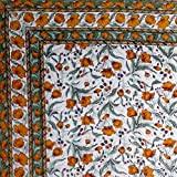 Handmade 100% Cotton Floral Print Tablecloth Tapestry Coverlet Spread 70''x106'' Amber Olive