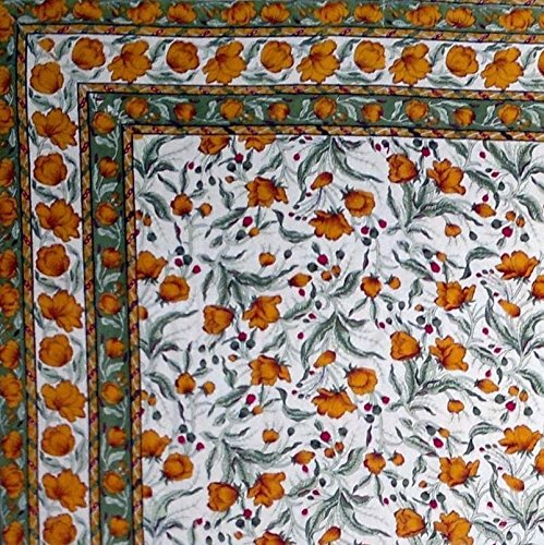 Handmade 100% Cotton Floral Print Tablecloth Tapestry Coverlet Spread 70''x106'' Amber Olive by India Arts