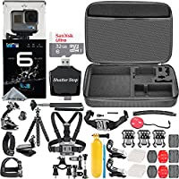 GoPro HERO6 Black + 32GB Memory Card + Hard Case + Card Reader + Chest Strap Mount + Head Strap Mount + Flexible Tripod + Extendable Monopod + Floating Handle + Hero 6 Best Value Bundle