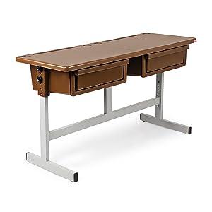 Cello School Mate Kid's Double Desk (Brown)