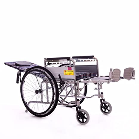 Silla de ruedas para Ancianos, Espesada, de Acero galvanizado, reclinable, Taburete de
