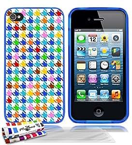 Carcasa flexible Ultrafina Azul Original de MUZZANO estampada Pata de gallo colorido para APPLE IPHONE 4 / IPHONE 4S + 3 películas de protección UltraClear para la pantalla