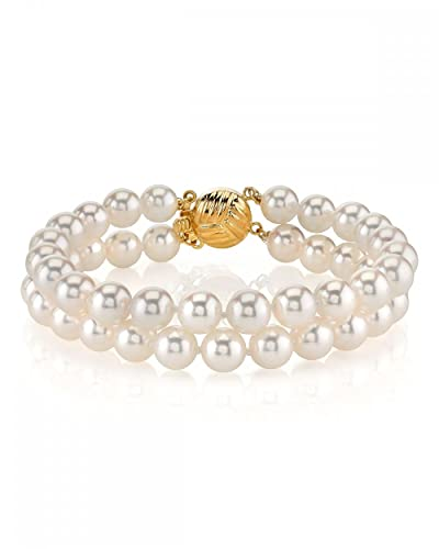 14K Gold Japanese Akoya White Cultured Pearl Double Bracelet - AA+ Quality