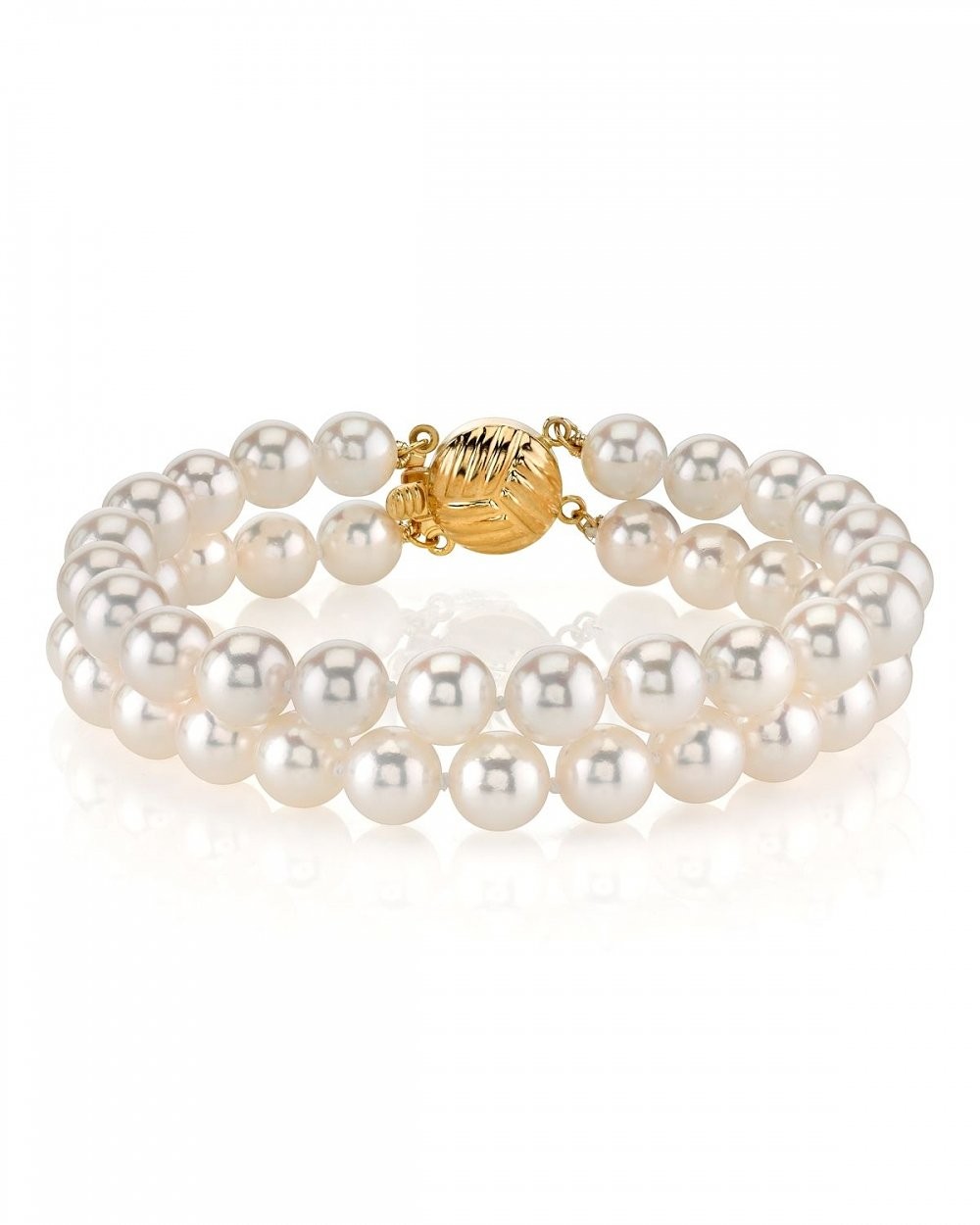 14K Gold 7.0-7.5mm Double Japanese Akoya Saltwater White Cultured Pearl Bracelet