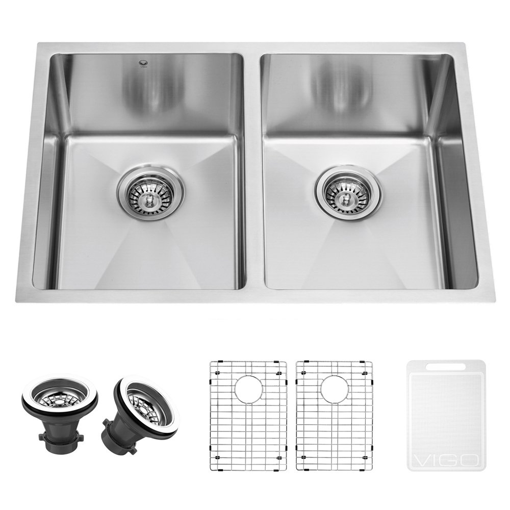 vigo 29inch undermount stainless steel 16 gauge stainless steel double kitchen sink with rounded edge grids and strainers amazoncom