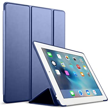 Funda para iPad 2/3/4 - GOOJODOQ Smart Case Cover Piel Sintética a Prueba de Golpes de Silicona Suave TPU Funda para Apple iPad 2 iPad 3 iPad 4 Azul ...