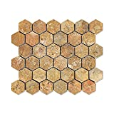 Scabos Travertine 2'' Hexagon Mosaic Tile, Tumbled - Box of 5 sq. ft.