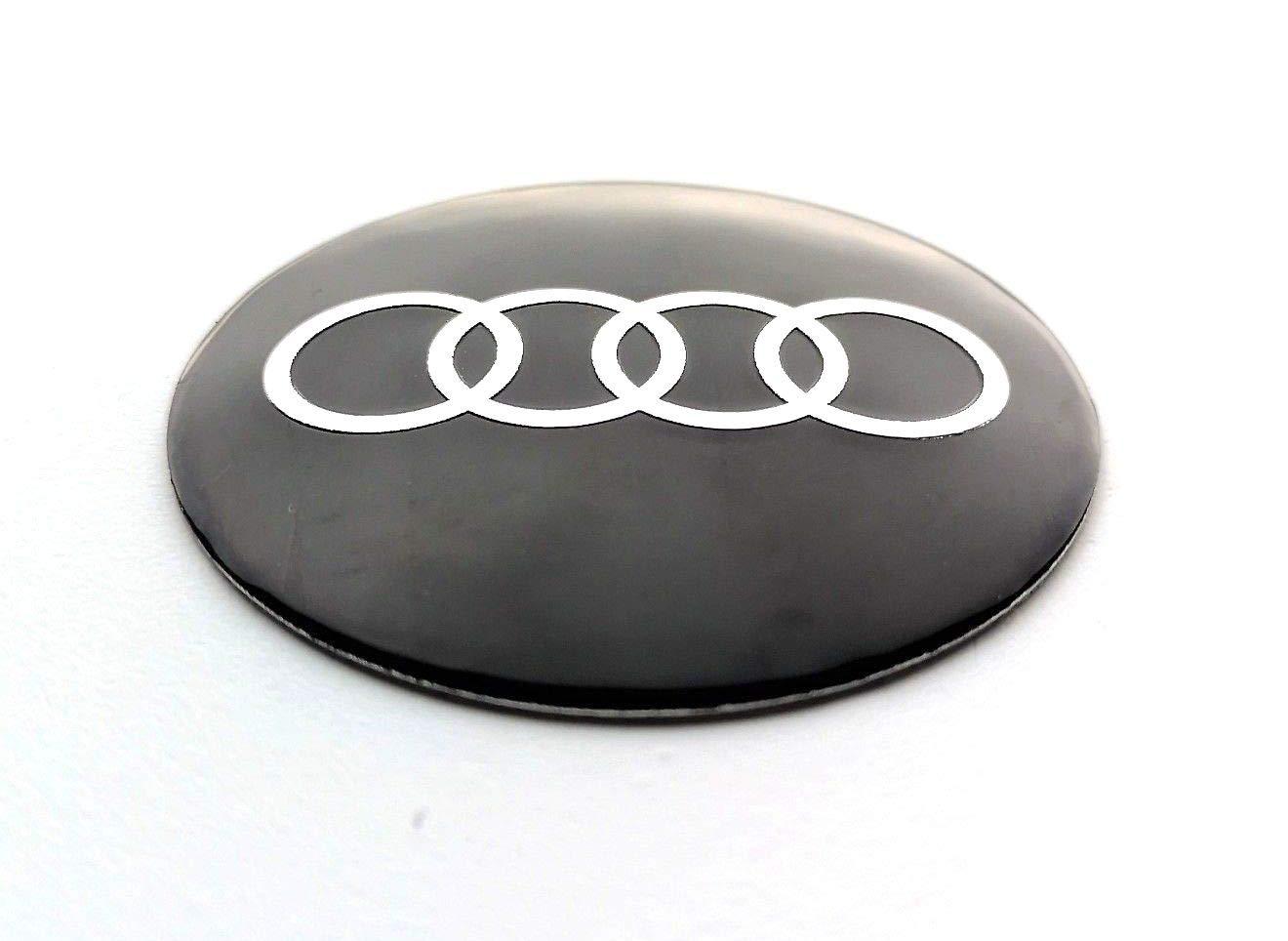 Set di 4 stemma adesivi 60mm per tappi cerchi ruote copriruote copricerchi coprimozzi cerchioni AudiLogo