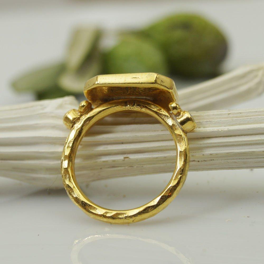 Sterling Silver Roman Art Greyhound Coin W// White Topaz Ring 24k Yellow Gold Vermeil Turkish Designer Jewelry