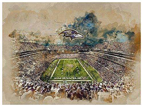 Paper Ravens Baltimore (ATLAS Baltimore Ravens Poster Watercolor Art Print 12x16 Wall Decor)