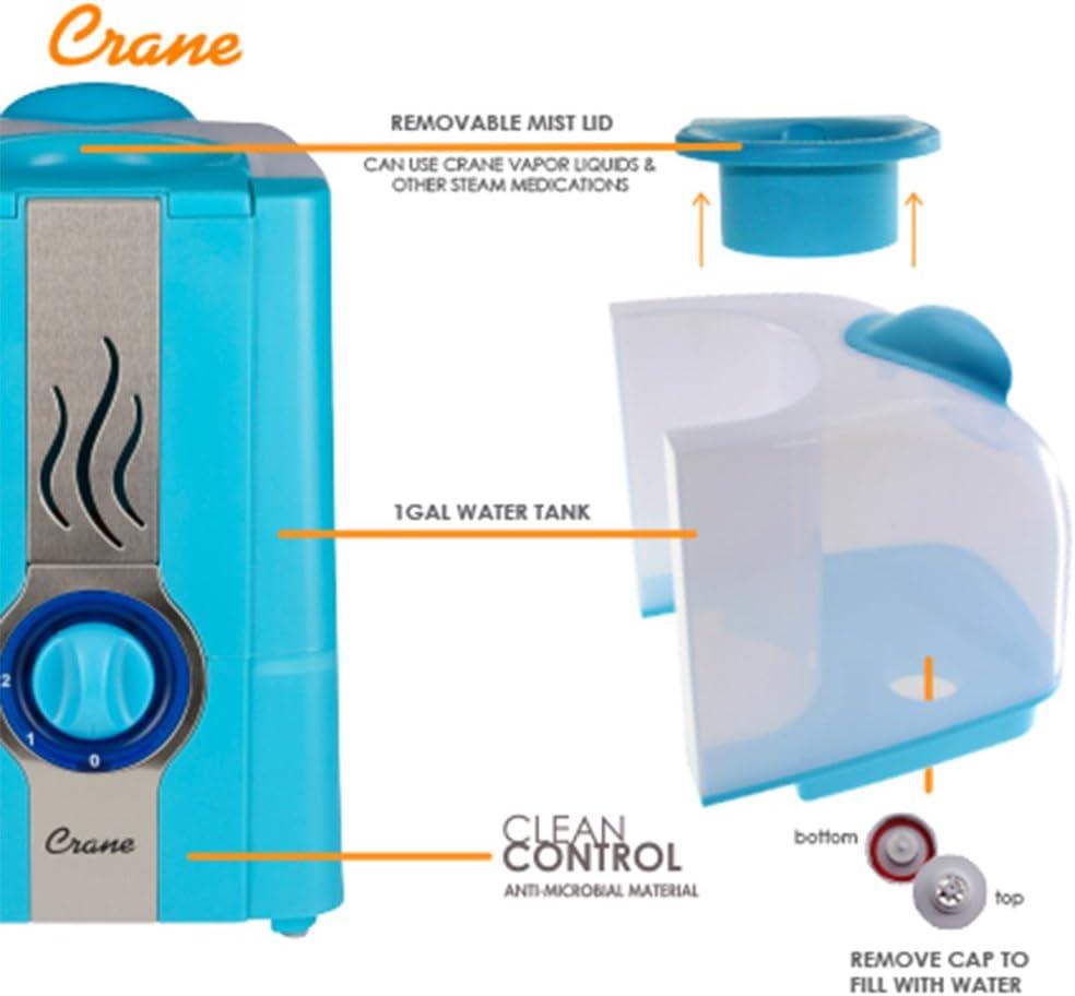 Crane 1 Gal. Portable Warm Mist Humidifier Aqua