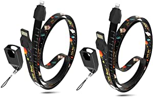 2 Pack Lanyard Strap USB Charging Cable, 33.5 inch Ruler Lanyards Neck Charger Cord for Phone/Keys/Keychain/Work Card Compatible with Phone 11 XS MAX/XR/8 7 Plus