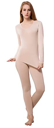 4a00dfdbe397a5 Grils Thermal Underwear Vest Slim Fit Base Layer for Dry Skin Top & Leggings  Beige L