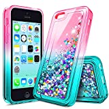 iPhone 4S Case, iPhone 4 Glitter Case for Girls Kids Women, NageBee Liquid Quicksand Waterfall Floating Sparkle Shiny Bling Diamond Cute Case for iPhone 4/4S -Pink/Aqua