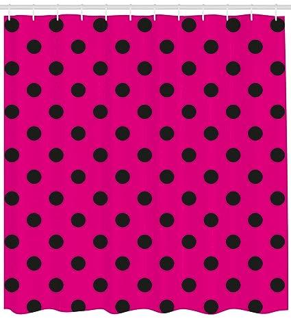 Ambesonne Hot Pink Shower Curtain Pop Art Inspired Design Retro Pattern Of Black Polka Dots