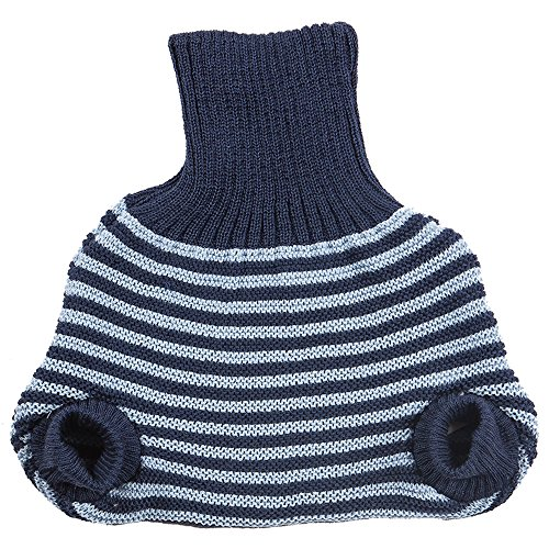 Pull on Diaper Cover for Baby Boys and Girls, 100% Organic Merino Wool Double Knit (86-92cm/ 12-24 Months, Navy/Blue Stripes)